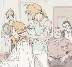 1girl 4boys alphonse_elric bandage beard belt black_hair blonde_hair brothers clenched_hands closed_eyes coat cutting_hair edward_elric eyebrows_visible_through_hair facial_hair fullmetal_alchemist glasses heymans_breda kain_fuery long_hair looking_at_another looking_away multiple_boys open_mouth p0ckylo pants ponytail riza_hawkeye scissors shirt short_hair siblings sitting smile stading sweatdrop tied_hair towel white_shirt