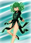 1girl breasts commentary_request dress graphite_(medium) groin millipen_(medium) one-punch_man onnaski short_hair solo tatsumaki thighs traditional_media