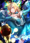 1girl absurdres blonde_hair blue_dress blue_eyes commentary cup dress drinking_glass fate/labyrinth fate/prototype fate/prototype:_fragments_of_blue_and_silver fate_(series) highres kyjsogom looking_at_viewer sajou_manaka short_hair smile solo tattoo wine_glass