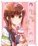 alternate_costume alternate_hairstyle asymmetrical_hair atobesakunolove bangs braid brown_eyes brown_hair bunny_hair_ornament chibi_inset chinese closed_eyes commentary_request d.va_(overwatch) eye_of_horus eyebrows_visible_through_hair facepaint facial_mark facial_tattoo fingernails floral_print goggles hair_between_eyes hair_ornament hair_tubes hanbok head_mounted_display highres holding holding_bag korean_clothes light_smile long_hair long_sleeves looking_at_viewer mechanical_halo mercy_(overwatch) nail_polish nengajou new_year open_mouth overwatch palanquin_d.va pharah_(overwatch) pink_background pink_nails ponytail smile solo_focus sombra_(overwatch) spiky_hair striped striped_sleeves tattoo tracer_(overwatch) translated undercut upper_body vertical-striped_background vertical_stripes watermark web_address whisker_markings white_border widowmaker_(overwatch)
