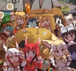 6+girls :d :o ahoge alcohol alpaca_ears alpaca_suri_(kemono_friends) animal_ears aqua_hair arm_up bangs banner beer beer_mug black-tailed_prairie_dog_(kemono_friends) black_gloves black_hair black_neckwear black_skirt blonde_hair blunt_bangs bow bowtie breast_pocket brown_eyes cerulean_(kemono_friends) chestnut_mouth claw_pose common_raccoon_(kemono_friends) cup day donbee_(food) drinking_glass elbow_gloves empty_eyes ezo_red_fox_(kemono_friends) fang fennec_(kemono_friends) food fox_ears fur-trimmed_sleeves fur_collar fur_trim gloves green_neckwear grey_eyes grey_hair hair_between_eyes hair_bun hair_over_one_eye hand_on_hip head_wings highres holding hood hoodie jacket japanese_crested_ibis_(kemono_friends) japari_bun japari_symbol kemono_friends kolshica lantern leaning_to_the_side long_hair long_sleeves looking_at_viewer looking_up lucky_beast_(kemono_friends) masu miniskirt multicolored multicolored_clothes multicolored_gloves multicolored_hair multiple_girls necktie no_gloves open_mouth orange_jacket outdoors paper_balloon paper_lantern photo_background pink_skirt pink_sweater pleated_skirt pocket prairie_dog_ears print_gloves print_neckwear print_skirt raccoon_ears redhead savanna_striped_giant_slug_(kemono_friends) scarlet_ibis_(kemono_friends) serval_(kemono_friends) serval_ears serval_print serval_tail shade short_hair skirt smile snake_tail sweater tail tsuchinoko_(kemono_friends) white_gloves white_hair white_neckwear white_skirt yellow_eyes yellow_gloves yellow_neckwear
