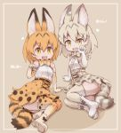 2girls :d animal_ears arm_support bangs bare_shoulders belt black_belt black_bow black_hair blonde_hair boots bow bowtie breasts cat_ears cat_tail dot_nose elbow_gloves eyebrows eyebrows_visible_through_hair facing_another fang full_body gloves grey_bow grey_hair hair_between_eyes heart high-waist_skirt horizontal_stripes kemono_friends kolshica legs_together looking_at_viewer miniskirt multicolored multicolored_clothes multicolored_gloves multicolored_hair multicolored_legwear multiple_girls open_mouth orange_bow orange_hair orange_legwear orange_neckwear orange_skirt palms panties pantyshot paw_pose platform_boots platform_footwear sand_cat_(kemono_friends) serval_(kemono_friends) serval_ears serval_print serval_tail shirt short_hair sitting skirt sleeveless sleeveless_shirt small_breasts smile spots striped striped_panties striped_tail tail tareme thigh-highs two-tone_hair underwear white_belt white_footwear white_shirt yellow_eyes yokozuwari zettai_ryouiki