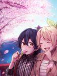2girls ayase_eli bangs blonde_hair blue_hair blush cherry_blossoms closed_eyes dango eating food hair_between_eyes highres laughing long_hair love_live! love_live!_school_idol_project multiple_girls open_mouth plaid plaid_shirt ponytail shirt smile sonoda_umi striped striped_shirt wagashi watch watch yellow_eyes yukiiti