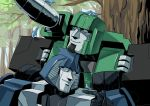 2boys 80s animal autobot bird bird_on_hand cannon closed_eyes day forest half-closed_eyes hound_(transformers) mirage_(transformers) multiple_boys nature no_humans oldschool outdoors personification pretentiousfork smile still_life transformers tree weapon