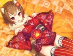 1girl animal_ears bangs brown_hair commentary_request dog_ears dog_girl dog_tail eyebrows_visible_through_hair floral_print fur_collar japanese_clothes kimono long_sleeves looking_at_viewer nengajou new_year obi open_mouth original pinching_sleeves print_kimono red_eyes red_kimono red_legwear sash short_hair short_kimono solo striped striped_legwear tail tam-u thick_eyebrows thigh-highs upper_teeth vertical-striped_legwear vertical_stripes wide_sleeves year_of_the_dog
