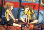 2girls bag bicycle brown_eyes brown_hair closed_eyes coffee_cup futami_mami ground_vehicle idolmaster idolmaster_(classic) idolmaster_2 long_hair mcdonald's multiple_girls open_mouth orange_hair paper_bag shorts side_ponytail sitting sportswear takatsuki_yayoi twintails usisan