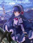 1girl black_legwear blue_hair blush cat dress hairband idolmaster idolmaster_cinderella_girls idolmaster_cinderella_girls_starlight_stage lolita_hairband long_hair looking_at_viewer pantyhose red_eyes rooftop sajou_yukimi sketch smile solo tetsujin_momoko