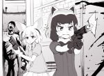 1boy 2girls abubu animal_ears bow bowtie common_raccoon_(kemono_friends) eyebrows_visible_through_hair fangs fennec_(kemono_friends) firing fox_ears fox_tail fur_collar gloves greyscale gun holding holding_weapon kemono_friends looking_at_another monochrome multicolored_hair multiple_girls open_mouth parted_lips pleated_skirt puffy_short_sleeves puffy_sleeves raccoon_ears short_hair short_sleeves shotgun skirt smoke smoking_gun standing sweater tail tears two-handed weapon zombie