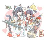 2girls :d animal_ears azur_lane black_hair cat_ears cat_tail character_name crossover detached_sleeves elite_unchi error_musume eyebrows_visible_through_hair fang flight_deck hair_ribbon kantai_collection looking_at_viewer maid_headdress multiple_girls nontraditional_miko open_mouth red_eyes ribbon short_hair smile tail wavy_mouth white_background wide_sleeves yamashiro_(azur_lane) yamashiro_(kantai_collection)