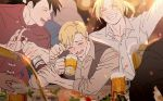 3boys alcohol alphonse_elric beer black_hair blonde_hair blush bottle brothers closed_eyes drinking edward_elric elbows_on_table eyebrows_visible_through_hair food fullmetal_alchemist glass grey_shirt happy ling_yao long_sleeves male_focus multiple_boys open_mouth p0ckylo party ponytail shirt short_hair siblings smile sunlight sweatdrop waistcoat white_shirt