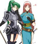 2girls absurdres armor breastplate fire_emblem fire_emblem:_kakusei fire_emblem:_rekka_no_ken fire_emblem_heroes gauntlets green_eyes green_hair highres holding holding_weapon long_hair looking_at_viewer lyndis_(fire_emblem) multiple_girls pauldrons redhead serge_(fire_emblem) simple_background smile thigh-highs weapon white_background