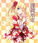 >_< 1girl :d ;) alcohol amagi_brilliant_park animal animal_hug bangs beer beer_can blonde_hair blush can cat checkered checkered_background closed_mouth commentary_request eyebrows_visible_through_hair floral_print flower hair_flower hair_ornament head_tilt japanese_clothes kimono latifa_fleuranza long_hair long_sleeves looking_at_viewer nakajima_yuka one_eye_closed open_mouth print_kimono red_flower red_kimono side_ponytail sidelocks smile tiramii very_long_hair wide_sleeves xd
