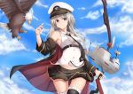 1girl absurdres azur_lane bird black_legwear blonde_hair blue_eyes bow bow_(weapon) breasts calligraphy_brush calligraphy_brush_(medium) clouds cloudy_sky eagle enterprise_(azur_lane) gloves graphite_(medium) hair_ornament hat highres kana616 large_breasts long_hair looking_at_viewer miniskirt necktie open_clothes paintbrush peaked_cap shirt skirt sky sleeveless sleeveless_shirt smile solo thigh-highs traditional_media uss_enterprise_(cv-6) very_long_hair weapon