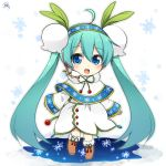 1girl :d ahoge bangs blue_eyes blue_hair blush boots brown_footwear capelet chibi dress eyebrows_visible_through_hair full_body fur-trimmed_boots fur_collar fur_trim hair_between_eyes hair_ornament hairband hatsune_miku headset highres knee_boots leaf_hair_ornament long_hair long_sleeves looking_at_viewer open_mouth signature sleeves_past_wrists smile snowflake_print solo standing sudachi_(calendar) tareme twintails very_long_hair vocaloid white_dress wide_sleeves yuki_miku