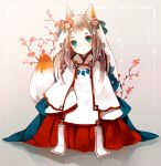 1girl animal_ears bangs beige_background blush brown_hair c: closed_mouth commentary_request flower fox_ears fox_girl fox_tail green_eyes hair_flower hair_ornament hakama head_tilt highres japanese_clothes long_hair looking_at_viewer magatama miko original red_hakama solo sparkle tail thick_eyebrows veil yuzuyomogi