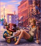 1boy 1girl animal backpack bare_arms bare_shoulders barefoot blonde_hair buildings candra clouds commentary crossover feet female hat heather_mason highres human jacket miniskirt multiple_boys one_piece purple_shorts reindeer short_hair shorts silent_hill_3 sitting skirt sky sleeveless sleeveless_turtleneck smile stairs street together tony_tony_chopper turtleneck vest wristband