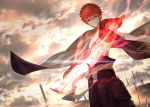 1boy abs cape clouds cloudy_sky commentary_request emiya_shirou fate/grand_order fate_(series) field_of_blades glowing glowing_sword glowing_weapon highres holding holding_sword holding_weapon igote japanese_clothes limited/zero_over looking_at_viewer magic_circuit male_focus redhead reluvy serious short_hair sky solo sword unlimited_blade_works weapon