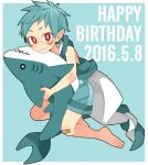 1boy aqua_hair aqua_shorts aqua_vest bandaid bandaid_on_knee barefoot dated facial_mark gills green_hair green_shorts green_vest happy_birthday highres looking_at_viewer male_focus original pointy_ears red_eyes shark shorts slit_pupils solo stuffed_animal stuffed_shark stuffed_toy touyama_(t3yama2) vest
