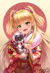 1girl :d animal bangs bell blonde_hair blush checkered checkered_background dated dog eyebrows_visible_through_hair fangs floral_print flower fur_collar green_eyes hair_flower hair_ornament hair_ribbon head_tilt holding holding_animal idolmaster idolmaster_cinderella_girls japanese_clothes jingle_bell jougasaki_rika kimono long_hair long_sleeves open_mouth paws red_kimono red_ribbon ribbon rope shimenawa shiny shiny_hair signature smile solo straight_hair two-tone_background two_side_up upper_body very_long_hair wide_sleeves yapo_(croquis_side)