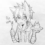 1boy animal_ears bandage bandaged_arm birthday_cake cake dated drawstring eyebrows_visible_through_hair food fork greyscale highres holding holding_fork hood hoodie lineart male_focus monochrome original plate slit_pupils solo touyama_(t3yama2) wolf_ears