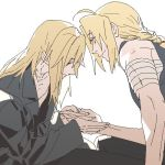 2boys alphonse_elric bandage black_shirt blonde_hair braid brothers coat edward_elric eyebrows_visible_through_hair fullmetal_alchemist hand_holding long_hair looking_at_another looking_down lowres male_focus multiple_boys p0ckylo shirt siblings simple_background sleeveless smile white_background yellow_eyes