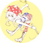 1girl adapted_costume alternate_legwear american_flag_legwear bent_over boots circle clownpiece cross-laced_footwear dra fairy_wings grin hat jester_cap lace-up_boots long_hair looking_at_viewer polka_dot short_shorts shorts smile solo teeth thigh-highs torch touhou wings