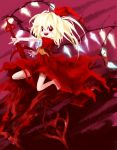 1girl :d absurdres ascot asymmetrical_wings bangs bare_legs barefoot blonde_hair blush diamond_(shape) dress facing_away flandre_scarlet flat_chest gem hair_between_eyes hair_ribbon highres holding holding_spear holding_weapon koumajou_densetsu laevatein legs_apart long_hair looking_at_viewer official_style oota_jun'ya_(style) open_mouth orange_neckwear polearm purple_background red_dress red_eyes red_ribbon ribbon short_sleeves side_ponytail smile solo spear teeth tongue torn_clothes torn_dress torn_ribbon touhou weapon wings yuki-ichigo