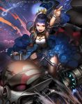 1girl :d armpits bangs blue_hair blue_nails blue_skirt blunt_bangs brown_legwear crescent_moon_symbol detached_sleeves emperors_saga fingernails ground_vehicle heterochromia highres index_finger_raised liduke motor_vehicle motorcycle nail_polish official_art open_mouth purple_hair riding round_teeth science_fiction short_hair skirt smile solo teeth thigh-highs watermark wide_sleeves wristband yellow_eyes