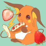 :t blue_background brown_eyes closed_mouth commentary_request eating food food_on_face fruit full_body hideko_(l33l3b) holding holding_food no_humans pokemon pokemon_(creature) raichu simple_background sitting solo strawberry