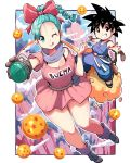 1boy 1girl ;q alternate_hairstyle ankle_boots aqua_eyes aqua_hair black_hair boots bow bra_strap braid breasts brown_gloves bulma cleavage clenched_hand clothes_writing clouds dougi dragon_ball dragon_ball_(object) dragon_radar dress forehead fringe full_body gloves hair_bow highres kenron_toqueen medium_breasts one_eye_closed pink_dress scarf single_braid son_gokuu spiky_hair staff tail teenage tongue tongue_out weapon weapon_on_back