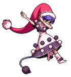 1girl big_hat blue_hair boots closed_eyes dab_(dance) doremy_sweet dress edited hat lowres official_style pom_pom_(clothes) santa_hat solo sprite_art tail tapir_tail touhou