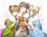 3girls alternate_costume alternate_hairstyle bangs blonde_hair blue_eyes blue_kimono blush bow breasts brown_eyes brown_hair cherry_blossoms closed_mouth double_bun eyebrows_visible_through_hair floral_background floral_print fur-trimmed_kimono fur_trim girls_frontline green_eyes green_kimono grey_kimono hair_between_eyes hair_bow hair_ornament hair_ribbon hairband hairclip holding japanese_clothes k-2_(girls_frontline) kimono long_hair looking_at_viewer medium_breasts multiple_girls obi open_mouth phino rfb_(girls_frontline) ribbon sash sidelocks sitting smile snowflake_hair_ornament suomi_kp31_(girls_frontline) tareme
