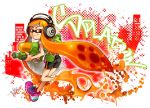 1girl artist_name ass bangs bike_shorts black_shorts blunt_bangs closed_mouth copyright_name cross-laced_footwear domino_mask headphones ink_tank_(splatoon) inkling isamu-ki_(yuuki) long_hair looking_at_viewer looking_back mask orange_eyes orange_hair paint_splatter pointy_ears purple_footwear running shirt shoes shorts signature single_vertical_stripe smile sneakers solo splatoon splatoon_1 splattershot_(splatoon) standing t-shirt tentacle_hair v-shaped_eyebrows white_shirt