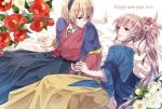 2boys blonde_hair fire_emblem fire_emblem_if floral_background flower hair_flower hair_ornament japanese_clothes leon_(fire_emblem_if) lying multiple_boys rose takumi_(fire_emblem_if) white_hair yoneko