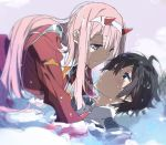 1boy 1girl ahoge bangs black_hair blue_eyes blush couple darling_in_the_franxx eyebrows_visible_through_hair face-to-face green_eyes hair_between_eyes hair_ornament hiro_(darling_in_the_franxx) horns jacket kasuga_souichi lake long_hair looking_at_another looking_at_viewer lying_on_water male_focus military military_uniform necktie open_clothes open_jacket orange_neckwear pink_hair red_jacket red_neckwear short_hair tongue tongue_out uniform very_long_hair wet wet_clothes wet_hair zero_two_(darling_in_the_franxx)