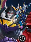 2boys afterburner_(transformers) autobot decepticon fighting_stance holding holding_weapon mechanical_wings menasor mikunissinen multiple_boys no_humans open_mouth orange_eyes personification polearm pose red_eyes spear standing technobots transformers weapon wings