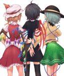 3girls arm_behind_back ass asymmetrical_wings black_dress black_hair black_hat black_legwear blonde_hair dress flandre_scarlet from_behind green_eyes green_hair green_skirt hand_on_another's_back hat hat_ribbon houjuu_nue komeiji_koishi mob_cap multiple_girls red_ribbon red_skirt ribbon roke_(taikodon) short_dress short_sleeves simple_background skirt skirt_set thigh-highs touhou white_background white_hat wings