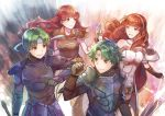 2boys 2girls alm_(fire_emblem) armor breastplate cape celica_(fire_emblem) fire_emblem fire_emblem_echoes:_mou_hitori_no_eiyuuou fire_emblem_gaiden gauntlets green_hair headband holding holding_sword holding_weapon long_hair multiple_boys multiple_girls pauldrons redhead smile sword weapon yukimiyuki