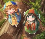 2girls aqua_eyes barefoot black_hair blush braid closed_eyes dress hakumei_(hakumei_to_mikochi) hakumei_to_mikochi hat highres leaf log mikochi_(hakumei_to_mikochi) minigirl multiple_girls netamaru open_mouth redhead short_eyebrows smile twin_braids wide_sleeves