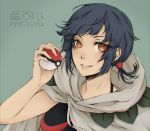 1girl artist_name bare_arms black_hair cloak earrings eyes_visible_through_hair fire-akra hand_up higana_(pokemon) holding holding_poke_ball hood hood_down hooded_cloak jewelry lips looking_at_viewer low_ponytail orange_eyes parted_lips poke_ball pokemon pokemon_(game) pokemon_oras ponytail short_hair short_ponytail sleeveless smile solo upper_body