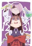 3girls bound bright_pupils brown_hair collared_shirt commentary_request eyebrows_visible_through_hair freckles glasses grey_shirt grin hair_over_one_eye hairband hand_to_own_mouth highres kagari_atsuko little_witch_academia long_hair long_sleeves multiple_girls neck_ribbon nervous_smile pac-man_eyes purple_hair purple_neckwear purple_ribbon purple_vest red_eyes restrained ribbon round_teeth sharp_teeth shirt sitting smile sucy_manbavaran sweatdrop tama teeth tied_up vest vial wing_collar worried
