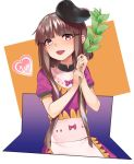 1girl 1up apron asuzemu bangs blunt_bangs bow brown_eyes brown_hair commentary_request dress eyebrows_visible_through_hair hat heart holding_plant looking_at_viewer nishida_satono open_mouth puffy_short_sleeves puffy_sleeves purple_bow purple_dress short_hair short_hair_with_long_locks short_sleeves sidelocks smile solo touhou white_background