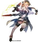 1girl armor bangs blonde_hair boots braid dual_wielding full_body gauntlets hair_ribbon headdress holding holding_sword holding_weapon liduke metal_boots monster_hunter official_art parted_lips pink_eyes plate_armor red_ribbon ribbon short_sword simple_background single_braid solo spaulders standing standing_on_one_leg sword tress_ribbon watermark weapon white_background
