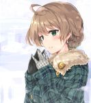 1girl ahoge blush braid fur_trim green_eyes idolmaster idolmaster_million_live! idolmaster_million_live!_theater_days light_brown_hair mittens parted_lips sakuramori_kaori solo winter_clothes yabudatami