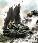 explosion grass ground_vehicle military military_vehicle motor_vehicle no_humans original sao_satoru sky smoke t-72 tank tank_focus