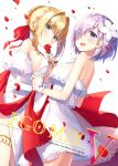 2girls :d ahoge backless_outfit bangs bare_shoulders blonde_hair blurry blush bow braid cover cover_page depth_of_field doujin_cover dress dutch_angle fate/grand_order fate_(series) flower french_braid green_eyes hair_bow hair_flower hair_ornament hair_over_one_eye hair_ribbon hand_holding hands_together interlocked_fingers mash_kyrielight masuishi_kinoto multiple_girls nero_claudius_(fate) nero_claudius_(fate)_(all) open-back_dress open_mouth petals purple_hair red_bow red_ribbon ribbon rose_petals sidelocks smile thighlet violet_eyes white_background white_dress white_flower