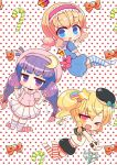 >_o 3girls :o ;d alice_margatroid bangs beret black_hat black_shorts blonde_hair blouse blue_dress blue_eyes blunt_bangs blush bow braid candy candy_cane chibi commentary_request crescent dress eyebrows_visible_through_hair fang food frilled_hairband hair_between_eyes hair_ornament hairband hat heart kirisame_marisa kneeling long_hair low_twintails marshmallow_mille mini_hat multiple_girls no_shoes one_eye_closed open_mouth orange_bow parted_lips patchouli_knowledge pink_blouse pink_bow pink_hairband pink_hat pleated_skirt polka_dot polka_dot_background puffy_short_sleeves puffy_shorts puffy_sleeves purple_hair sailor_dress school_uniform serafuku shirt short_sleeves shorts side_braid side_ponytail skirt sleeveless sleeveless_shirt smile star star_hair_ornament striped striped_legwear thigh-highs touhou twin_braids twintails v v-shaped_eyebrows very_long_hair violet_eyes white_background white_shirt white_skirt wrist_cuffs