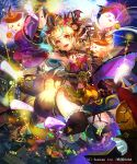 >_< 1girl :3 :d animal_ears apron armpits bare_shoulders basket bat_wings blonde_hair blush bracelet candy cityscape creature detached_sleeves dress facial_mark fireworks flying_sweatdrops food fox_ears fox_tail ghost hair_ornament hand_up head_wings jack-o'-lantern jewelry liduke looking_at_viewer low_wings night night_sky obi open_mouth orange_eyes outdoors ring sandals sash sengoku_saga sky smile socks solo star tail waist_apron white_legwear wings