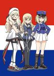 3girls :d absurdres ascot bad_id bad_pixiv_id bc_freedom_(emblem) beret black_legwear blonde_hair blue_eyes boots brown_eyes commentary_request crossover dress error flag_background france french_flag garter_straps girls_und_panzer girls_und_panzer_saishuushou glasses hat highres holding hoshino_banchou kantai_collection kepi light_brown_hair long_hair looking_at_viewer mole mole_under_eye multiple_crossover multiple_girls open_mouth oshida_(girls_und_panzer) pantyhose perrine_h_clostermann pleated_skirt rapier richelieu_(kantai_collection) scarf skirt smile strapless strapless_dress strike_witches sword trait_connection weapon world_witches_series