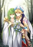 2boys bare_shoulders blonde_hair bracer commentary_request earrings enkidu_(fate/strange_fake) eyebrows_visible_through_hair fate/grand_order fate_(series) faulds fern flower forest gauntlets gem gilgamesh gilgamesh_(caster)_(fate) gorget green_hair head_wreath head_wreath_removed headpiece holding horns hug hug_from_behind jewelry kangetsu_(fhalei) light_particles long_hair long_sleeves male_focus multiple_boys nature outdoors red_eyes robe single_gauntlet smile standing tree turban white_robe wide_sleeves yellow_eyes
